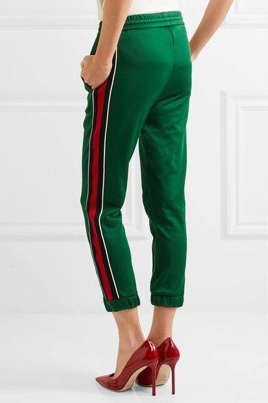 gucci pants. gucci - striped jersey track pants green xx small