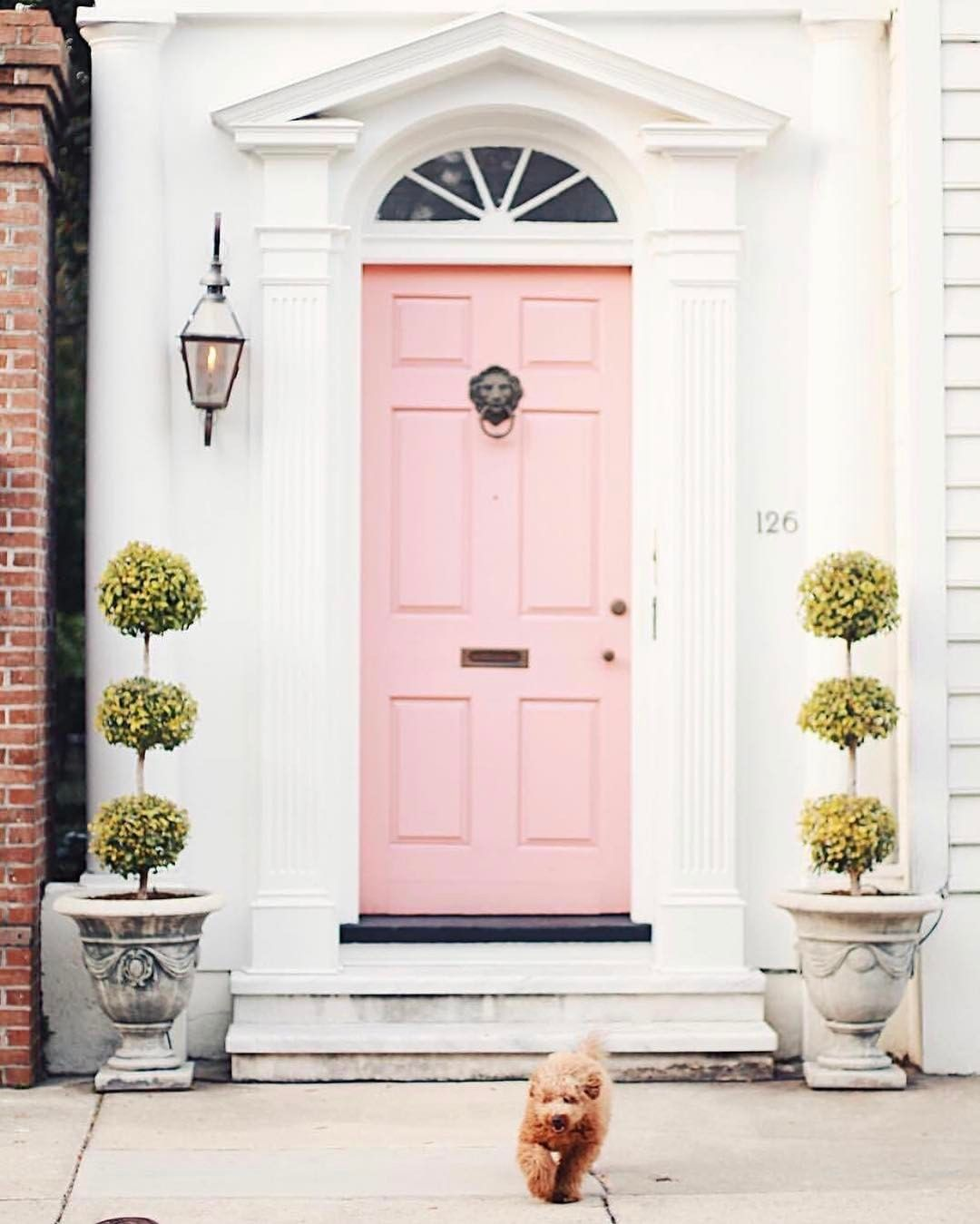 Pink front door | d o o r s | Pinterest | Front doors, Doors and House