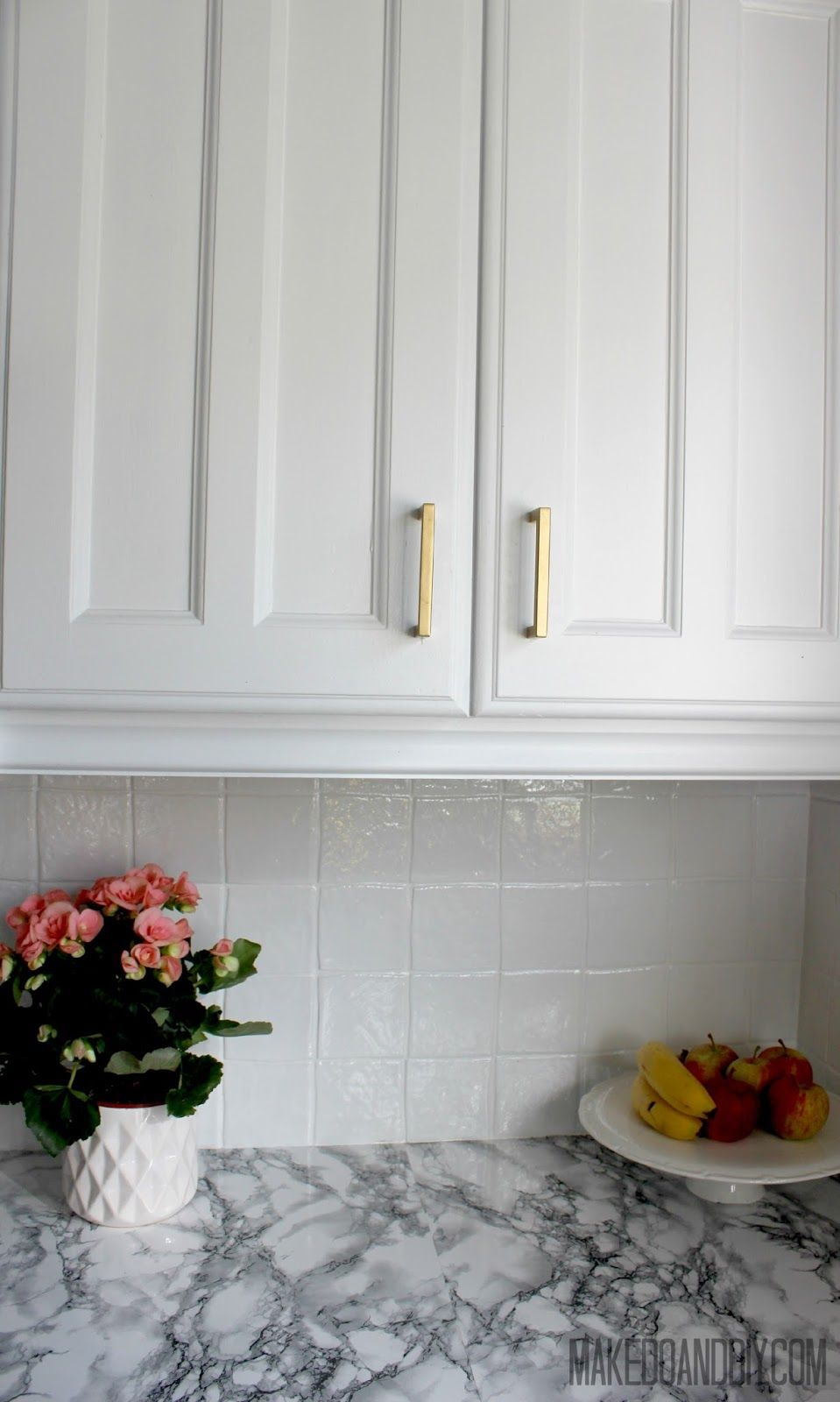 painted kitchen tile backsplash, cheap and easy update for dated ...