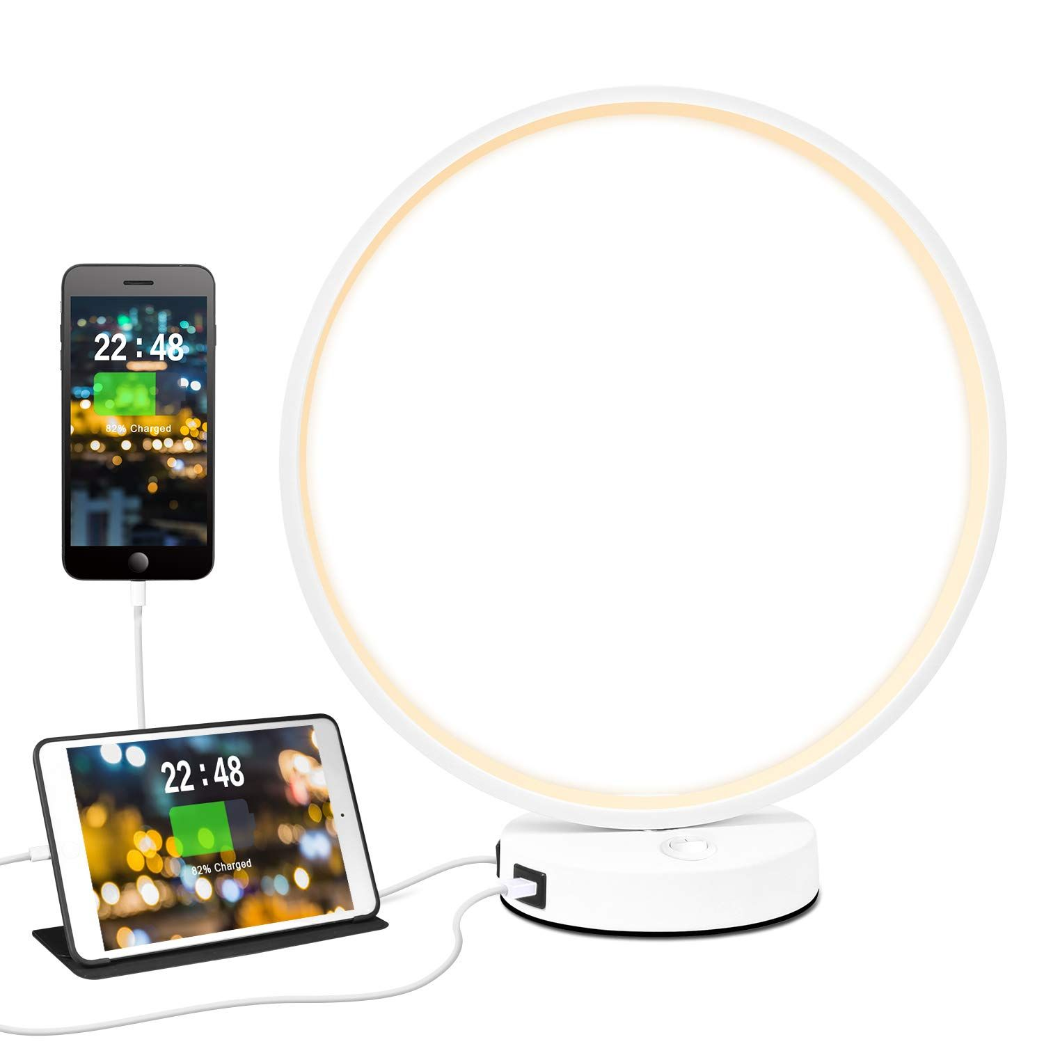 Circle Lamp Led Bedside Lamps 3 Way Dimmable Circle Desk Table Lamps With Dual Usb Ports Ring Deco In 2020 Warm Design Bedroom Night Stands Bedside Lamp
