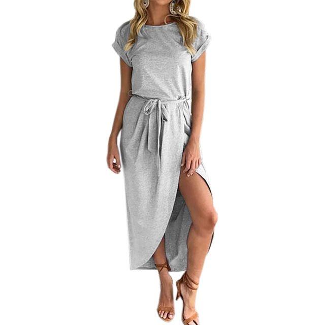 ffffe0563939a Plus Size Summer Boho Maxi Dress Women Short Sleeve Sundress 2017 ...