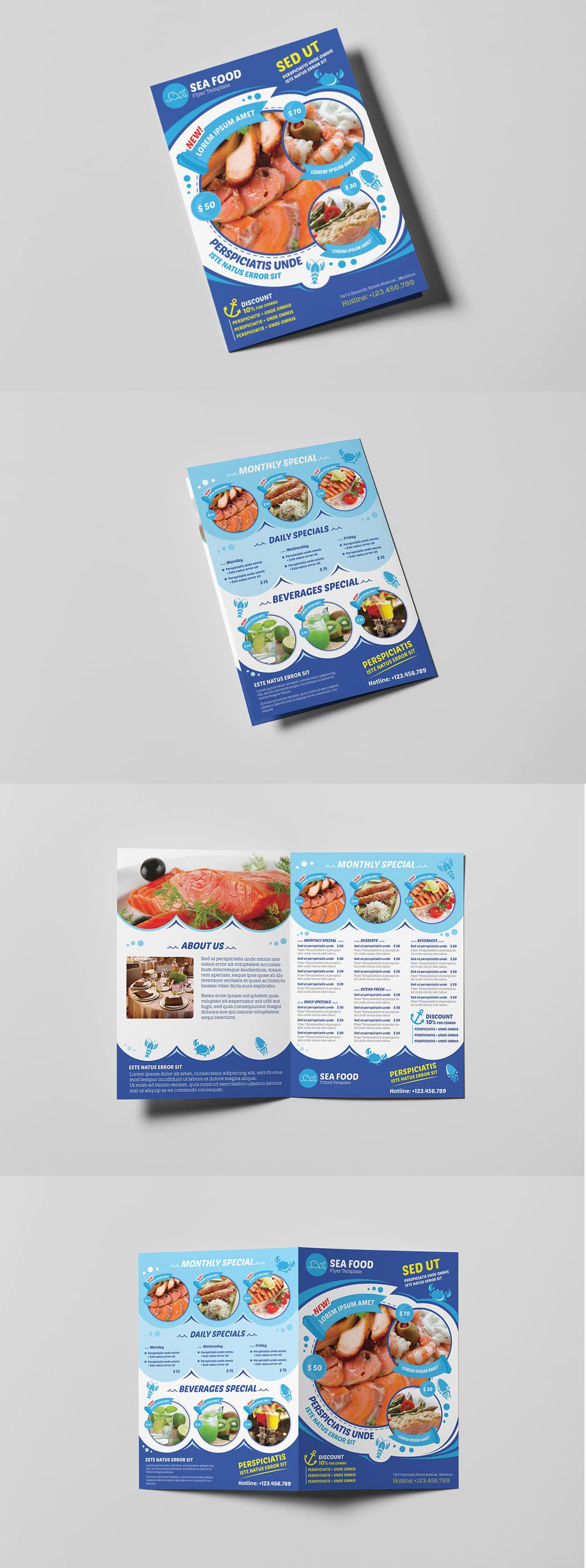 Seafood Restaurant A Brochure Leaflet Template PSD Brochure - A5 brochure template
