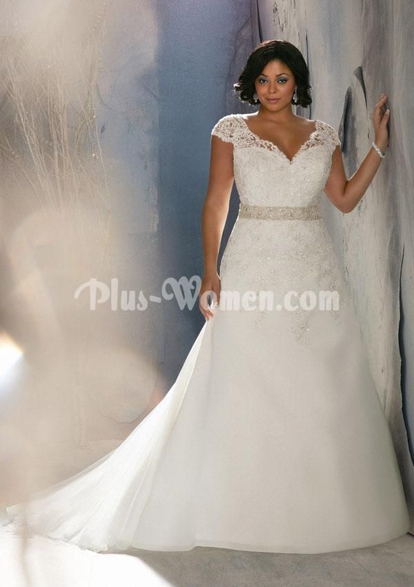 Delicately Beaded Lace Cap Sleeve Plus Size A-line Wedding Dress ...