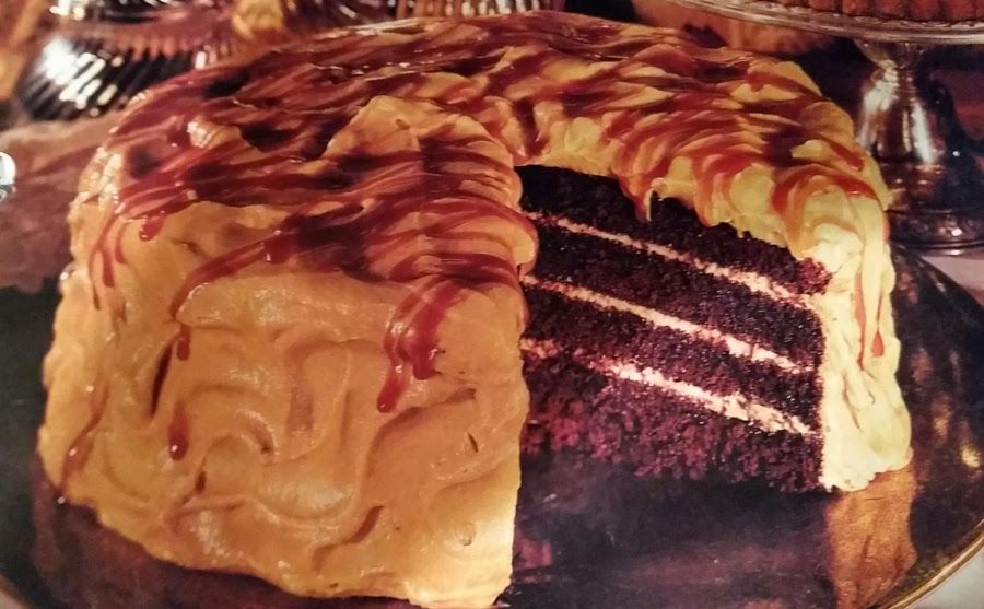 Chocolate bourbon cake wcaramel whipped cream recipe in