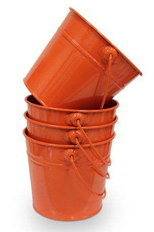 Orange Tin Buckets Little Metal Pails For Sale Orange Colored Wedding Favor Pails Buy Small Orange Party Mini Pails Bu Orange Orange Party Orange Crush