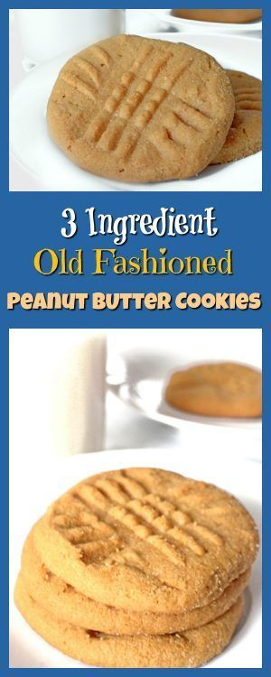 3 Ingredient Old Fashioned Peanut Butter Cookies are easy enough for a kid to ma