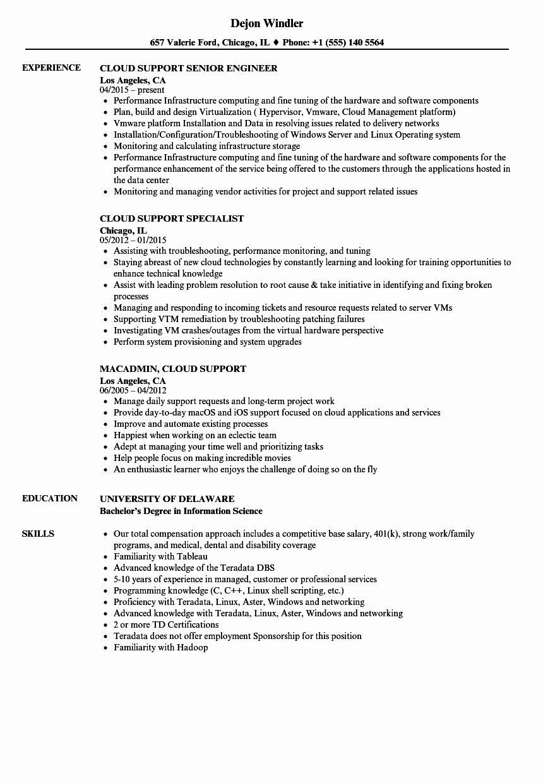 Aws Cloud Engineer Resume Beautiful Cloud Support Resume Samples In 2020 Resume Engineering Architect Resume