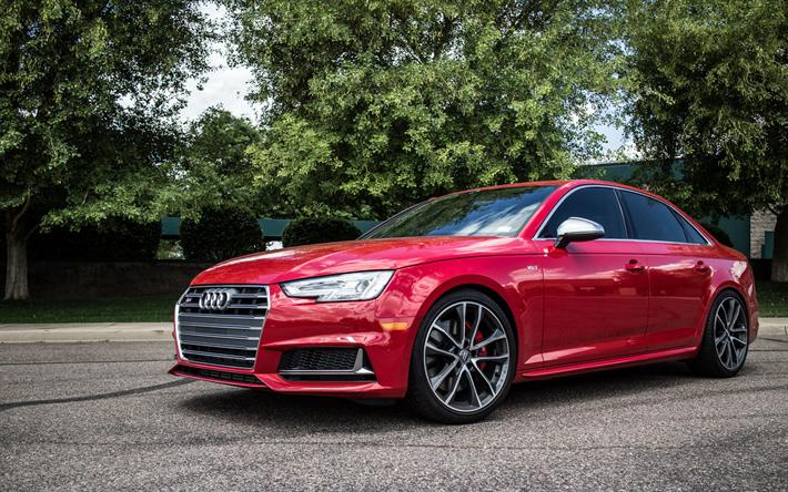 Download Wallpapers Audi S4 B9 2017 Cars Red S5 Audi Performance German Cars Audi Besthqwallpapers Com Audi S4 German Cars Audi