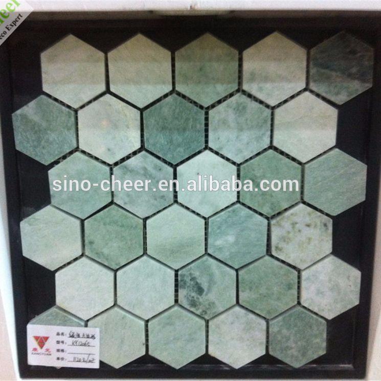 Tuile De Mosaique Empilee En Marbre Blanc Jade Melange Vert Xiuyan