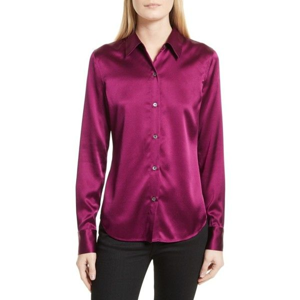 cf06bb1ff07 Women's Theory Perfect Fitted Stretch Satin Shirt ($295) ❤ liked on  Polyvore featuring tops, blouses, electric pink, button up shirts, purple  button down ...