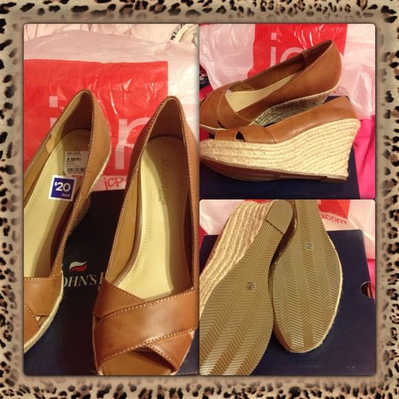 St. John bay tan wedges ✨Brand new✨ cute summer wedge. Never worn. Still in the box. St. John Bay Shoes
