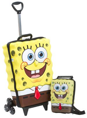 MaxToy Spongebob Squarepants 3D Roller Bag with Lunch Box. So cute! This kids  luggage set is perfect for school or travel. ef3beb3cee393