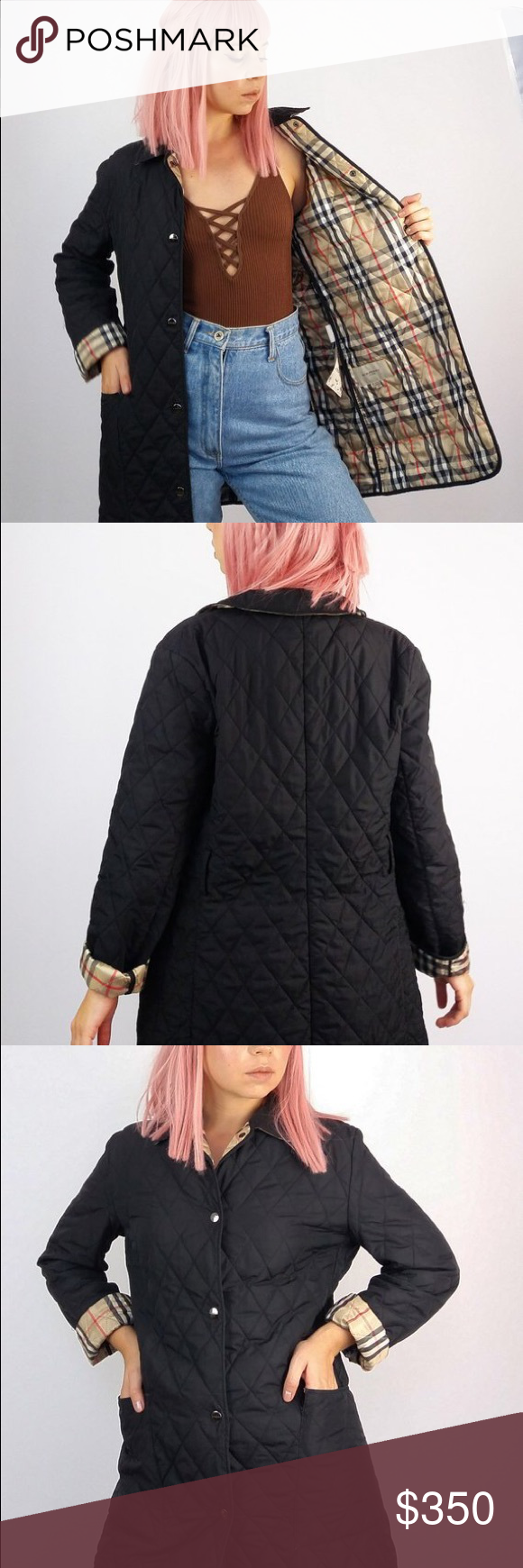 Black Vintage Burberry Quilted Jacket Small Burberry Quilted Jacket Clothes Design Quilted Jacket