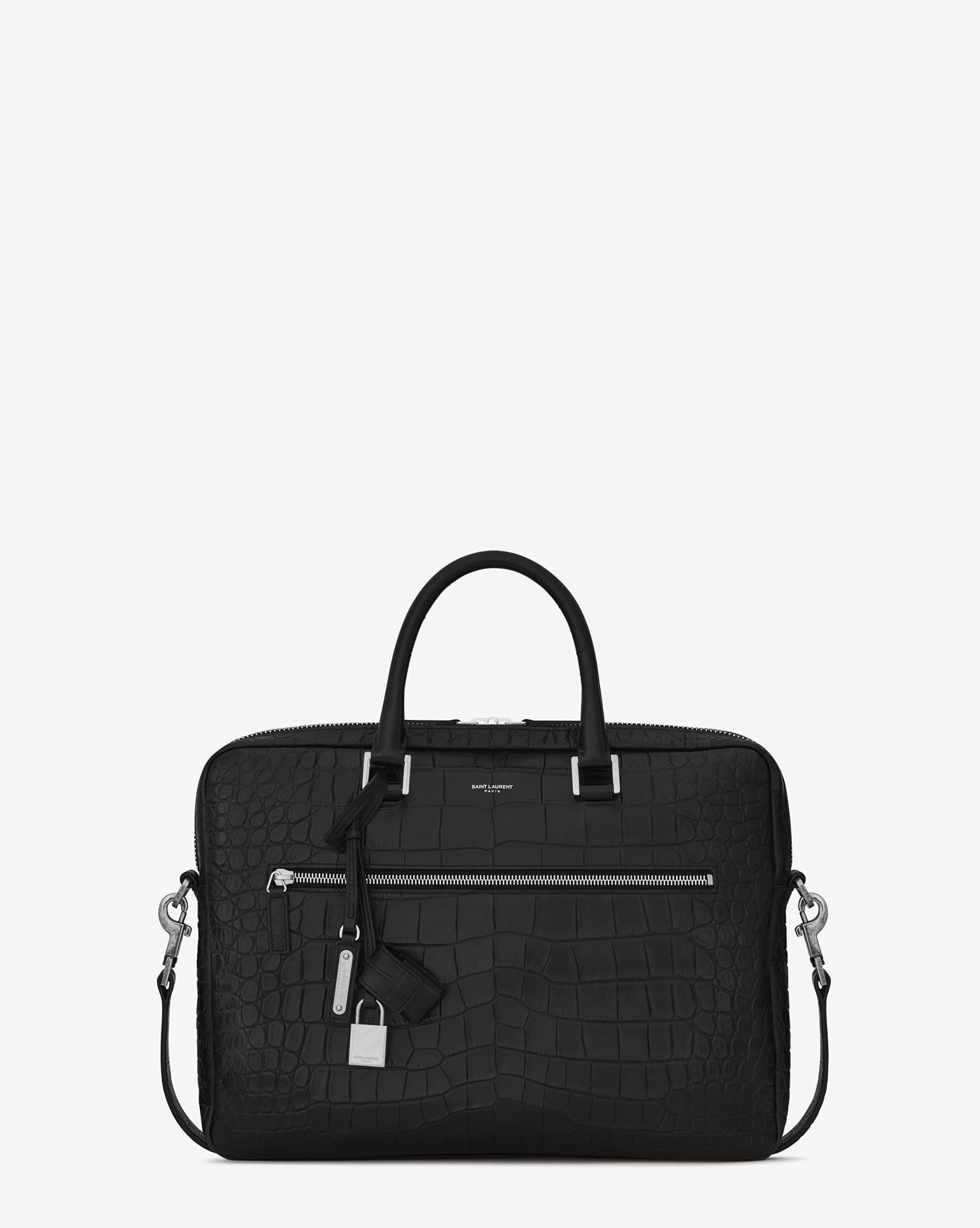 98710ec93ef Saint Laurent - Black Sac De Jour Large Briefcase In Crocodile Embossed  Leather for Men - Lyst
