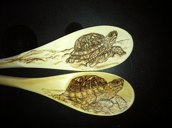 Turtle wood burned on small wooden spoon