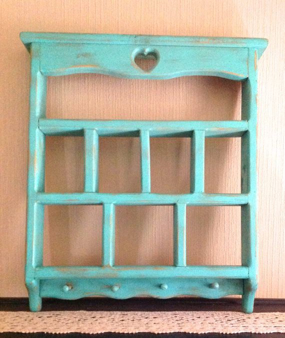 Beach Mint Green Vintage Cubby Shelf Wooden Shabby Chic