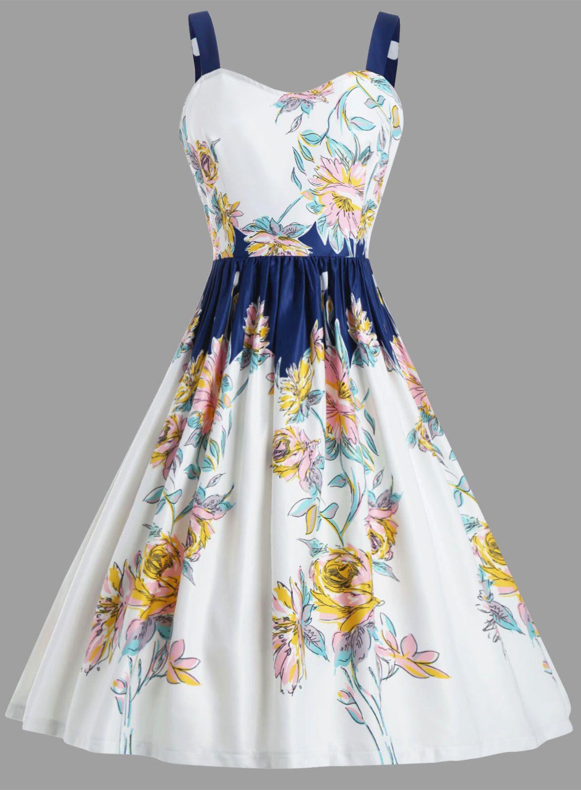 Floral Spaghetic Strap Vintage Party Dress - White - S