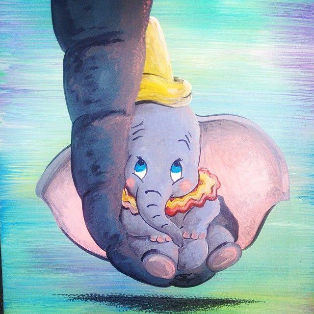 Dumbo on canvas acrylic painting art disney pinterest - Babyzimmer tattoo ...