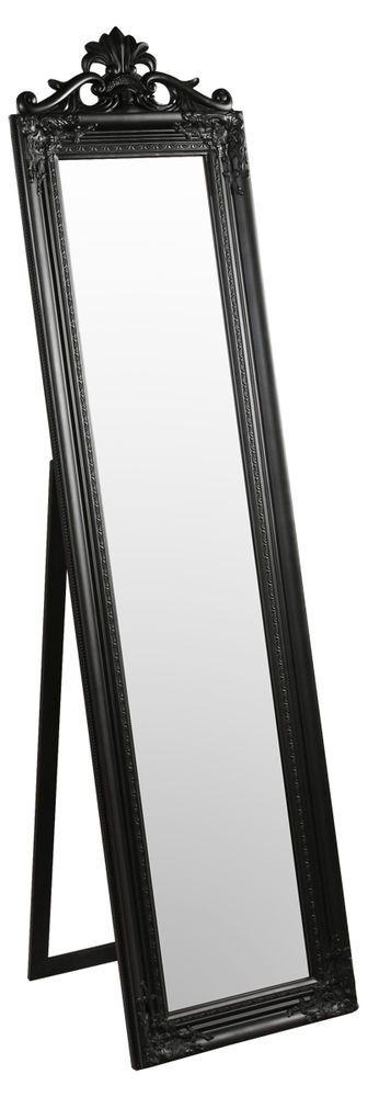 Baroque Style Ornate Floor Standing Cheval Mirror - Black | Floor ...
