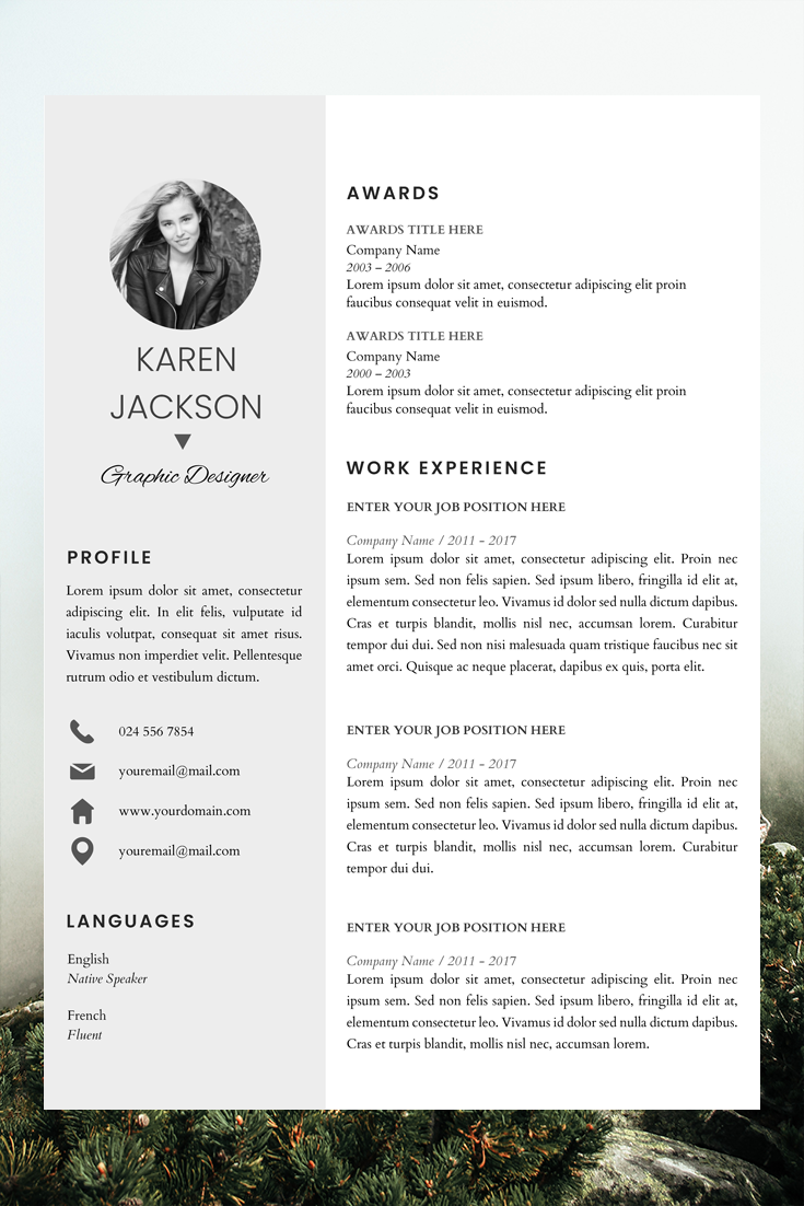 Modern Resume Template For Pages Cv Template For Microsoft Etsy Modern Resume Template Resume Template Resume Design