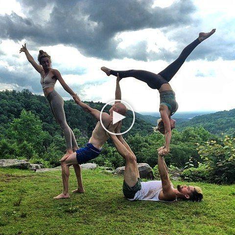 pinunknown unknown on stunts  acro yoga partner yoga