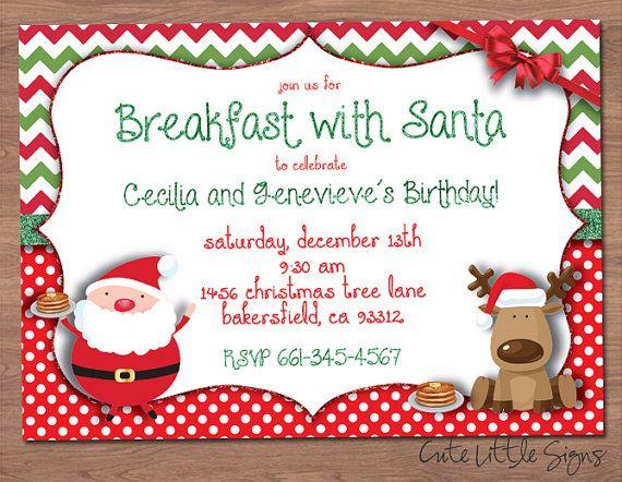 Breakfast With Santa Birthday Invitation Christmas Birthday
