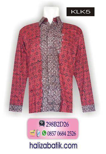 Baju batik modern warna dasar merah Kemeja batik pria bahan katun