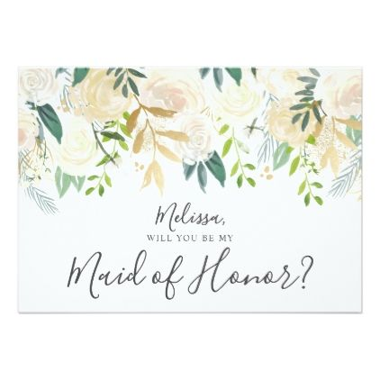 Pale Watercolor Floral Be My Maid Of Honor Card   Maids, Weddings ...