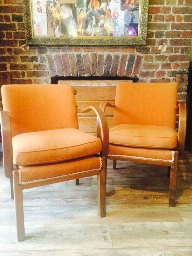 Awesome 40s Vintage Pair Chairs Parker Knoll Cotswold Fireside Utility Orange Tweed  Http://stores
