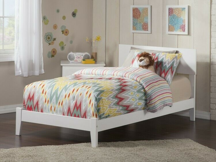 Details About Twin Xl Wooden Bed White Bedframe Indoor Headboard