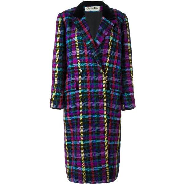 Christian Dior Vintage checked long coat ($1,515) ❤ liked on Polyvore featuring outerwear, coats, multicolour, double breasted long coat, longline coat, double breasted coat, woolen coat and long wool coats