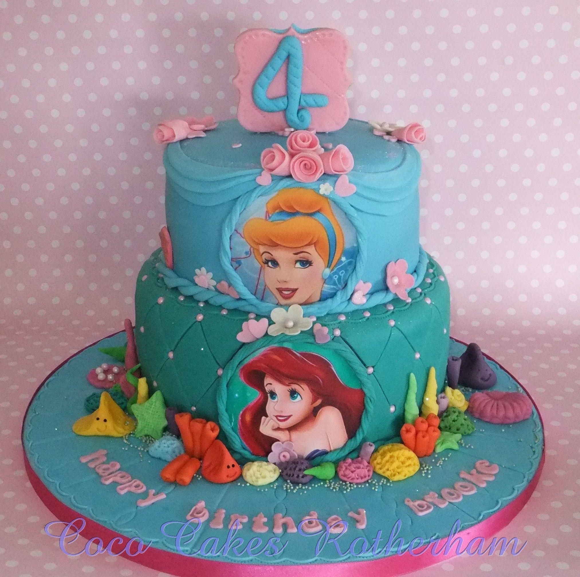 Princess Aurora Cake Design : Aurora & Ariel birthday cake design Disney cakes Pinterest