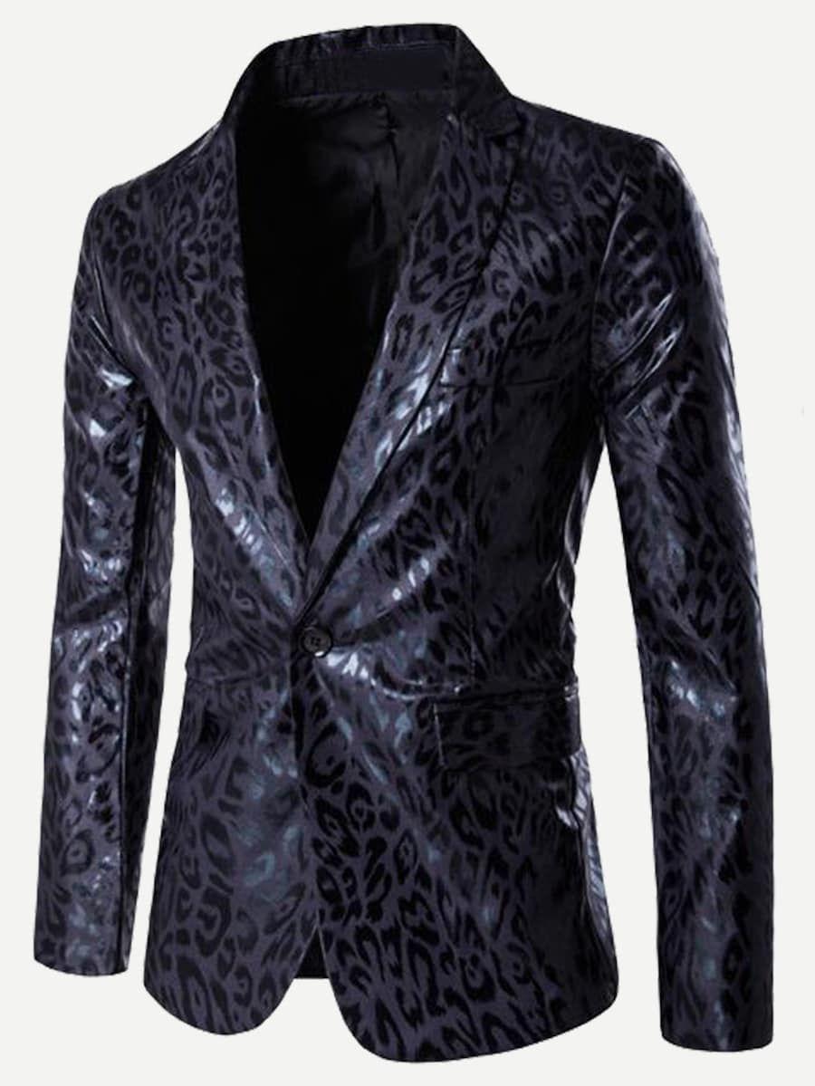 4439446385ee Men Leopard Print Single Button Pu Blazer -SheIn(Sheinside) #jacket ...