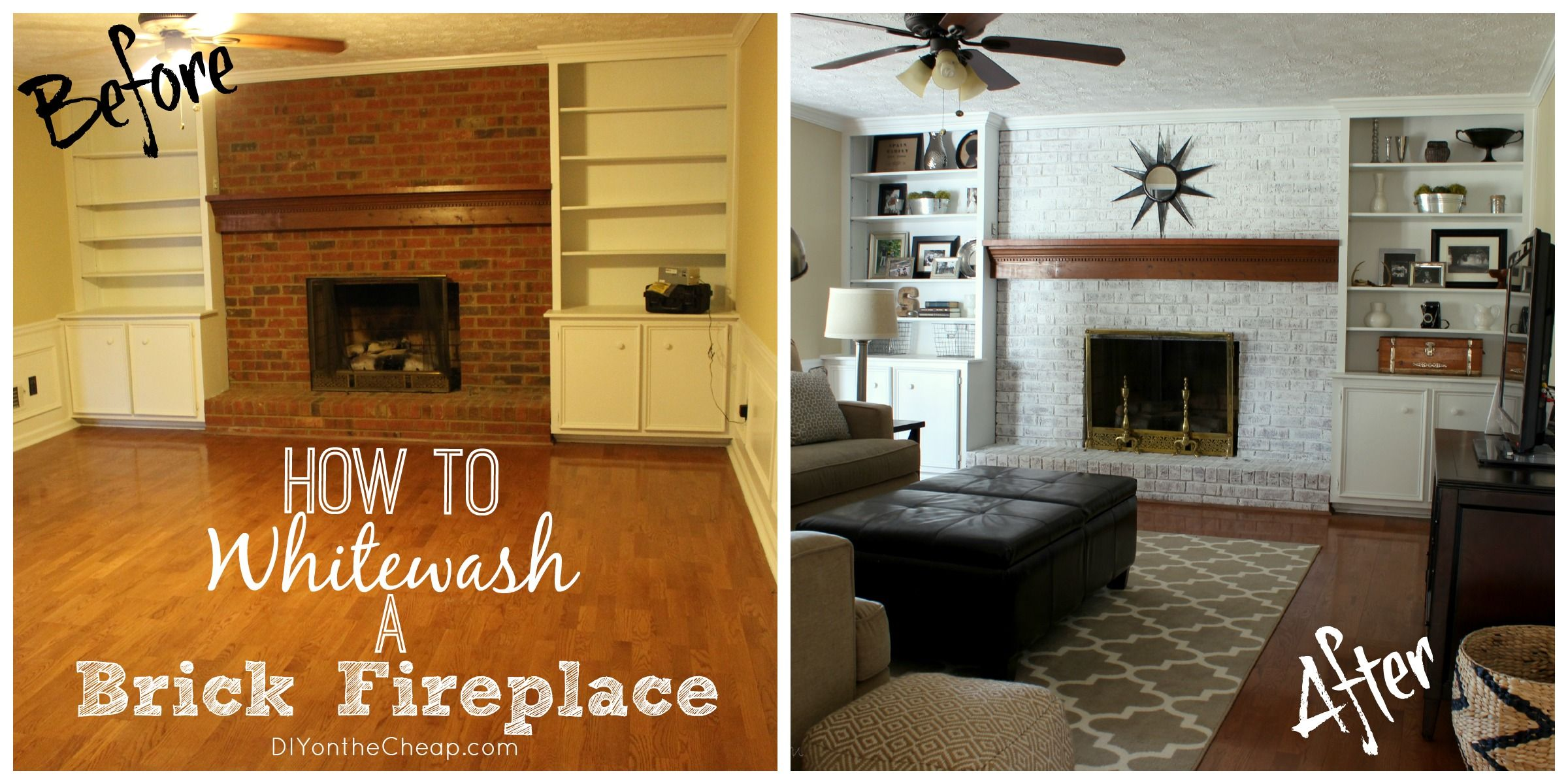 How to whitewash a brick fireplace how to whitewash brick