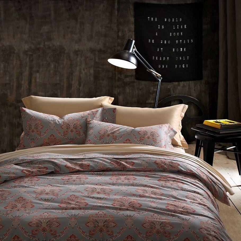 CHAUSUB Quality Silk Duvet Cover Set 4PCS Satin Egyptian Cotton Bedding Set  Vintage Printed Bed Cover