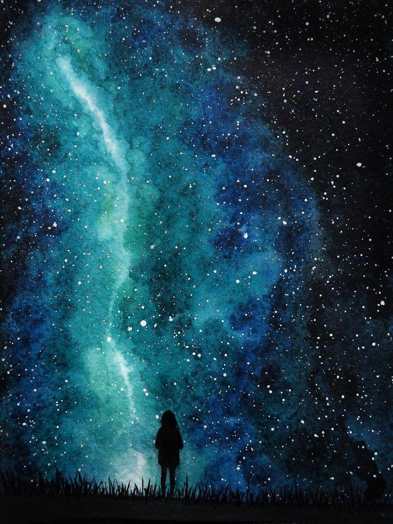 Magic Sky Watercolor Art Drawing Galaxy Stars Galaxie