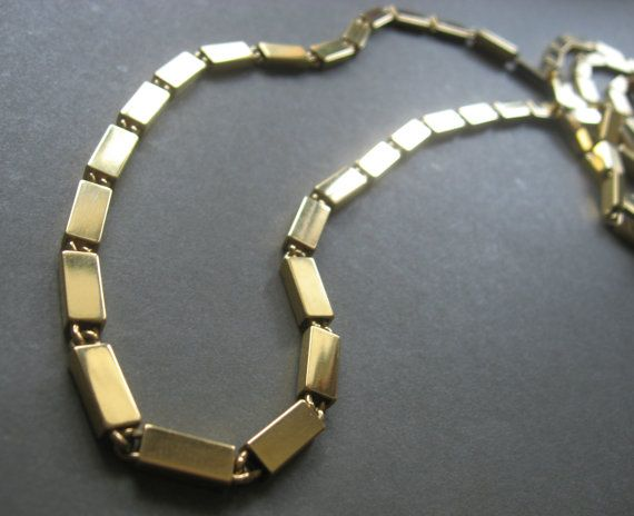 Monet extra long rectangle link necklace gold by kitschbitch77, $30.00