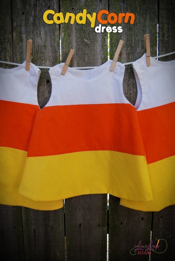 Candy Corn Dress. Simple and Sweet.    I have this simplicity pattern but would have never though of using it for this!