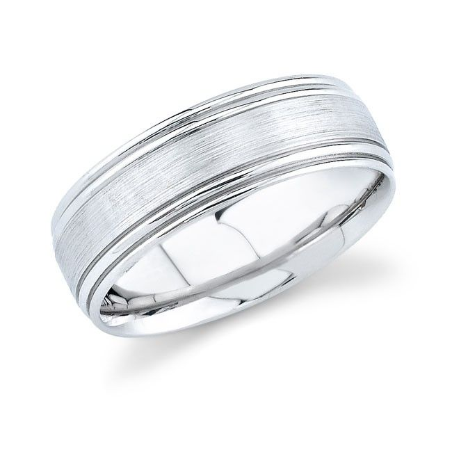 14k White Gold Mens Wedding Band With Brushed Finish Bands Picture 650x650