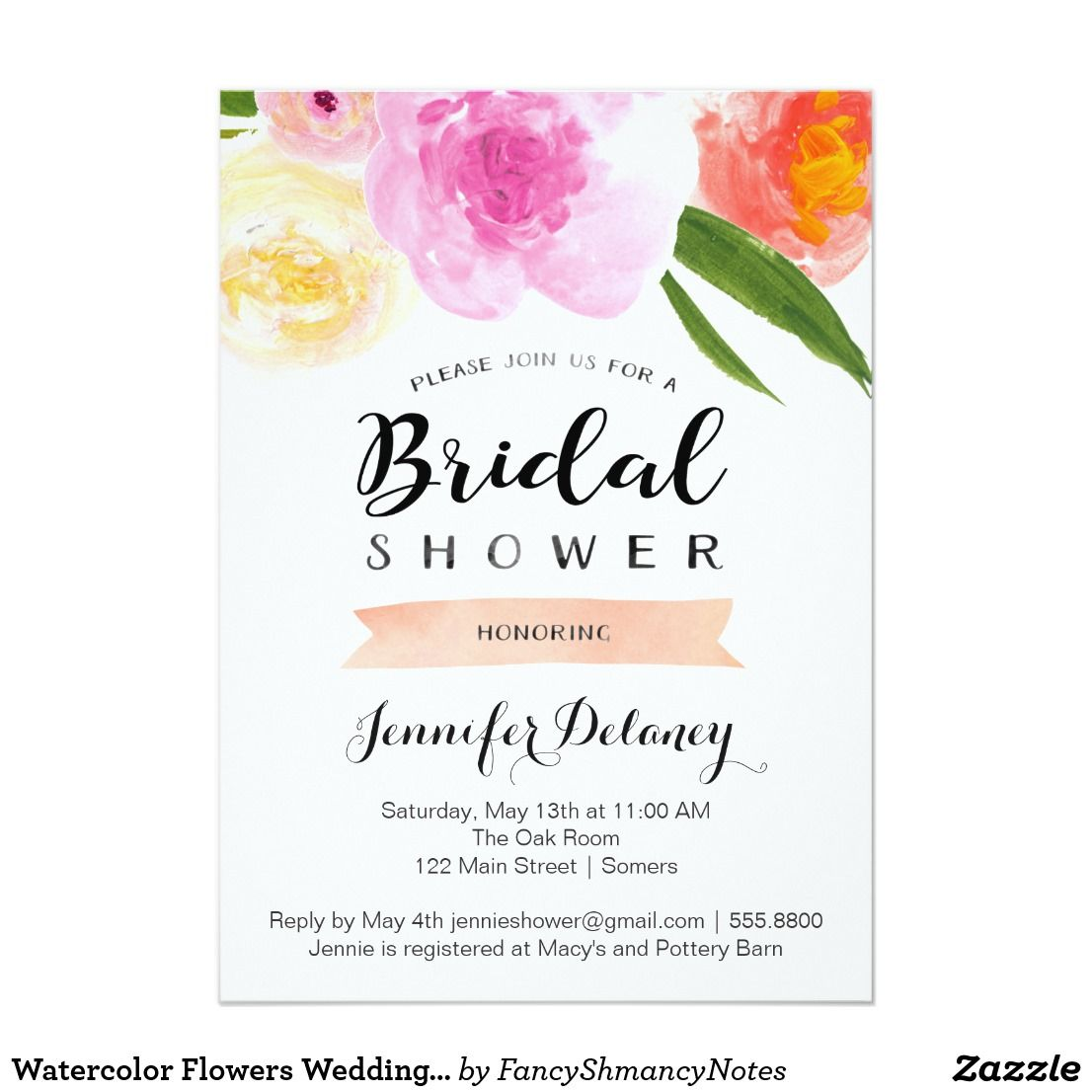 Watercolor Flowers Wedding Shower Invitation | Shower invitations ...
