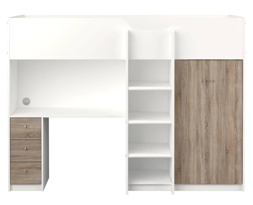 Hoogslaper met opbergkast planken bureau en lades. huis