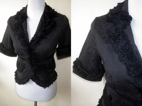 Autumn / Fall Sale: black ruffled blazer (small), fitted jacket by VintageHomage