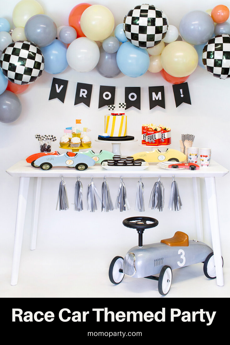 Check out the link for modern race car themed party supplies and decoration ideas for your next celebration! #carstheme #racecarparty #racecarbirthday