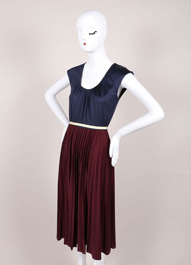 New With Tags Navy and Maroon Color Block Pleated Silk Jersey Dress