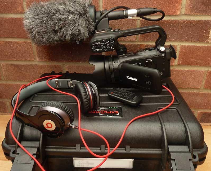 Canon XA10 with beats headphones Outdoor power equipment