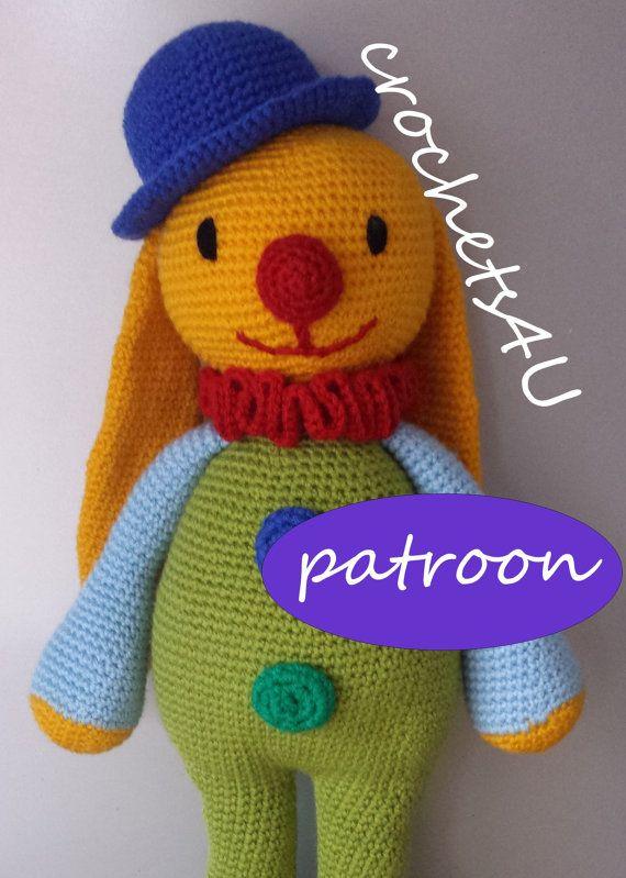 patroon haken knuffel konijn clown met hoedje / directe download van pdf / zonder naaien / in 1 stuk ! (Nederlands patroon)