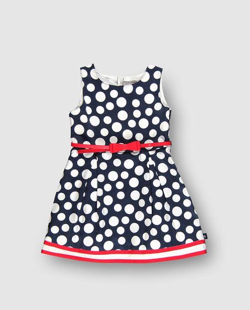 e8b6b99b9 Vestido de niña Boboli azul marino con lunares | VESTIDO NIÑAS ...