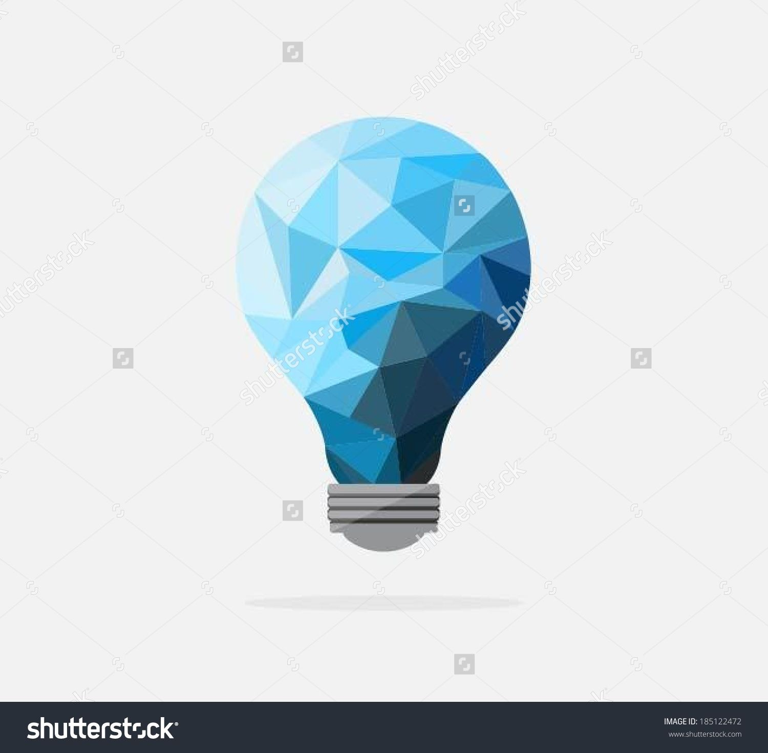 vector square blue icon lighting bulb. Stock-vector-polygon-idea-light-bulb-with-business- Vector Square Blue Icon Lighting Bulb