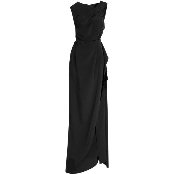 Roland Mouret - Goddards Silk Evening Gown featuring polyvore, fashion, clothing, dresses, gowns, black, evening/black tie, women, black maxi skirt, black evening dresses, evening gowns, black gown and long black skirt