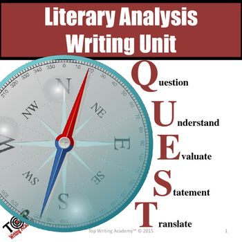 Literary Analysis Essay Writing Unit  Literary Elements Writing